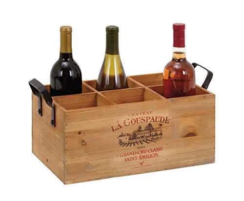 Deco 79 56152 Rustic Vintage French Script & Illustration Natural Wood Wine Crate with Metal Handles, Wine Gift Basket, 6-Bottle Wine Holder, Holiday Gift Ideas, Holiday Wine Bottle Display | ()