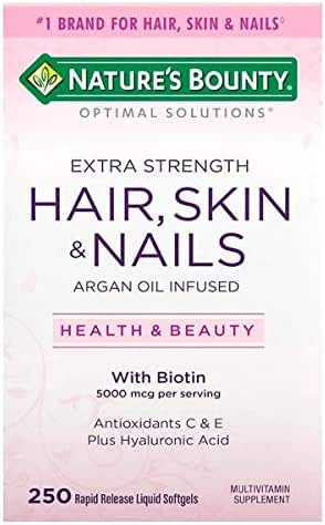 Natures Bounty Optimal Solutions Hair Skin and Nails Argan Oil Infused 5000mcg of Biotin, 250 Softgels