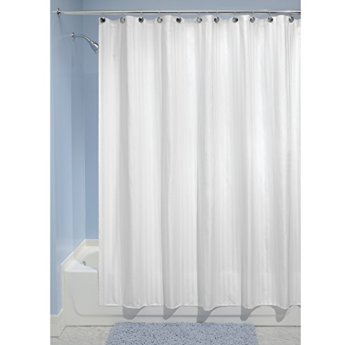 Mdesign Satin Stripe Fabric Shower Curtain Liner Long 72 X 84 White Home Garden Bathroom