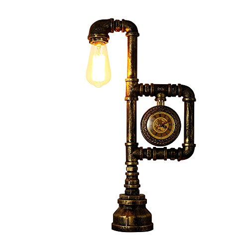 - INJUICY Vintage Industrial Table Lamps, Iron Water Pipe Base Desk Lamp with Clock for Bedside, Bedroom Living, Dining Room, Cafe Bar, Hallway Decor