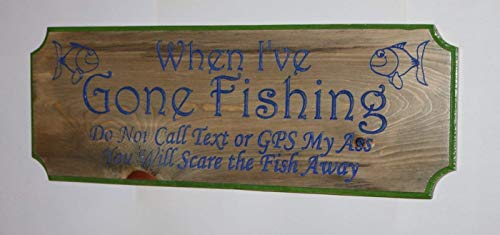 HANDMADE PLAQUE FUNNY WOODEN SIGN FISHING IS A FINE LINE  GIFT PRESENT