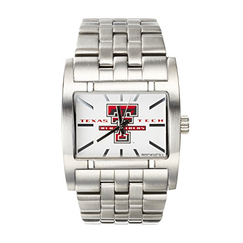 Tech Red Raiders College Watches - Rockwell NCAA Texas Tech Red Raiders Men's Apostle Watch, Adjustable, Silver