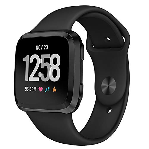 Kmasic Sport Band Compatible Fitbit Versa/Fitbit Versa Lite Edition, Soft Silicone Strap Replacement Wristband Fitbit Versa Smart Fitness Watch, Large, Black with Black Buckle
