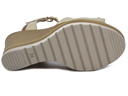Raquel Perez Sandalo in pelle colore beige, zeppa 10cm, 7203 E17