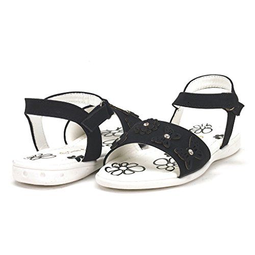 DREAM PAIRS SODA Girl's Cute Flower Toe Strap Velcro Spring/