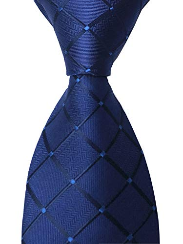 Men's Navy Blue Checks Ties Elegant Banquet Formal Prom Ball Neckties for Youth