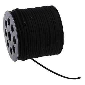 Baoblaze 2.7mm Faux Leather Suede Beading Cords - Black, 90m