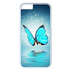 Hard Back Cover Case for iphone 6,Cool Fashion Art White PC Shell Skin for iphone 6 with Blue Butterfly
