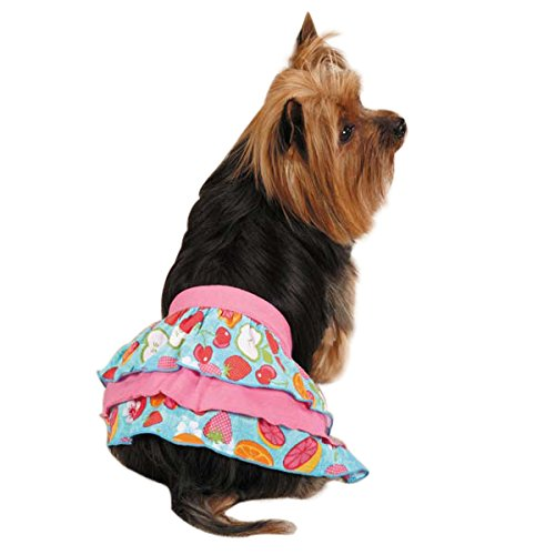 East Side Collection Polyester Cotton Fruit Frenzy Ruffle Dog Skirt, Small, Pink