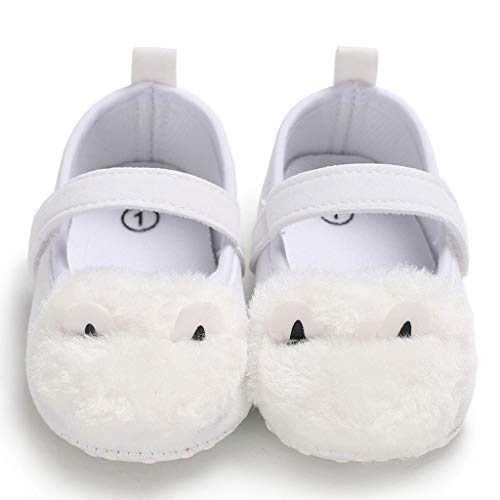 NUWFOR Infant Newborn Baby Girls Soft Sole Plush Ear Cartoon Prewalker Princess Shoes (White,0~6 Month) by NUWFOR (Image #4)