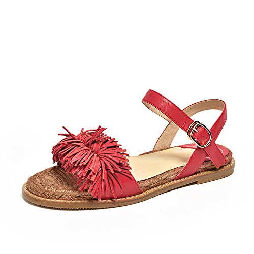 Beach Tassels Strap Fringed Women's Flats Leather Honeystore for Red Flats Sandals Shoes 4Uxggv