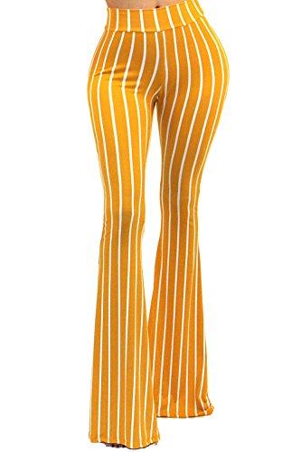 Vivicastle Women's Boho Solid Hippie Wide Leg Flared Bell Bottom Pants (i88, Mustard, Medium) ()