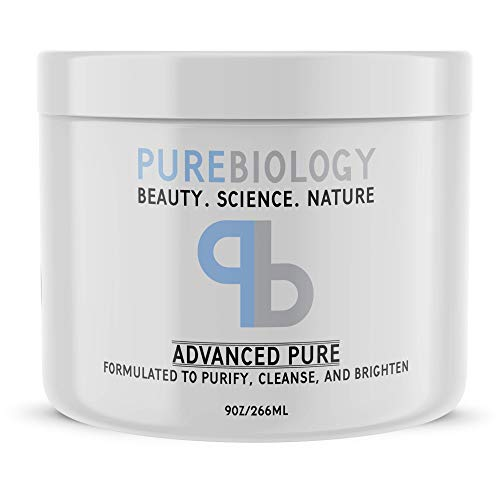 Pure Biology Face Mask w/Bentonite Clay, Kaolin Clay, Pea Peptides, Vitamins A + E – Cleanse, Smooth & Minimize Deep Pores, Dark Spots, Blackheads & Acne Scars – Men & Women, All Skin Types