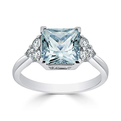 - Diamond Wish 14k White Gold Diamond Engagement Ring with 2 1/10 Princess-Cut Aquamarine Gemstone and 1/3 ct TDW, Size 6.5