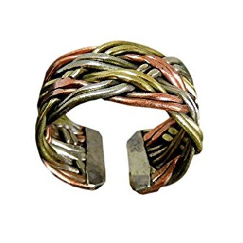 (Hands Of Tibet Tibetan Om Mani Padme Hum Healing Ring (Twisted Three Metal Medicine) )