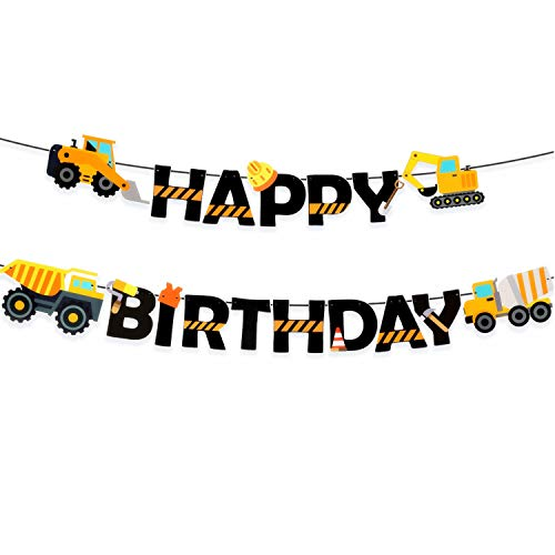 Construction Birthday Banner Dump Truck Party Decorations Pre-Assembled