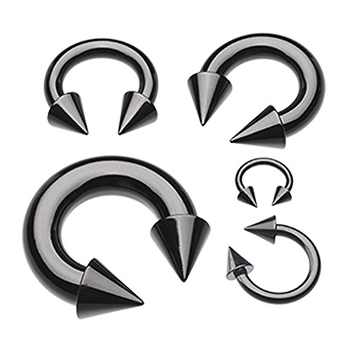 Spike Horseshoe Circular Barbell (Black Colorline PVD Basic Spike Top Horseshoe Circular Barbell (Sold Individually) (10G, L: 5/8