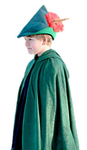 Sueded Cloth Hooded Cape, Child Size, Made in USA, Hunter Green