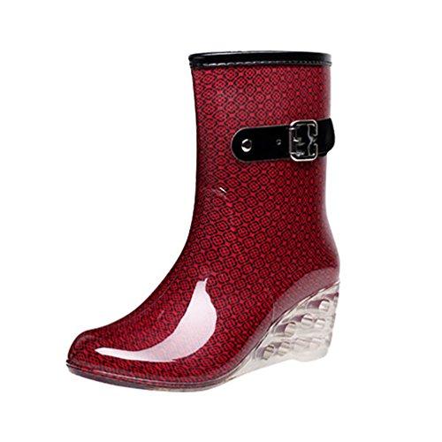 LvRao Women's Zipper Waterproof High Heel Boots Garden Shoes | Ladies Dot Pattern Rain Booties Wellies Red
