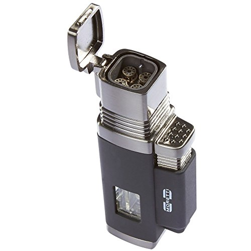 Silver Butane Torch Cigar Lighter - Moretti Vertigo Churchill Quad Flame Butane Torch Cigar Lighter w/ Punch Cutter (Quad Flame, Black)