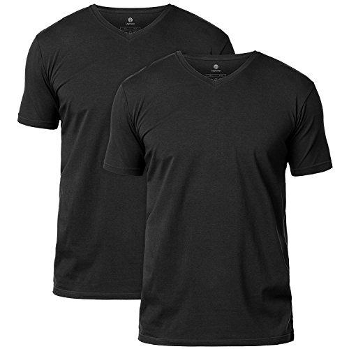 LAPASA Mens Short Sleeve Cotton Stretch Undershirts V-Neck/Crew Neck T-Shirts Solid Plain Tees 2 Pack M06