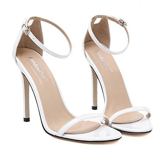 Boucles Escarpins Blanc Aiguille Vernie Sandales Chaussure Femmes Bout Haute Talon Ete Cuir Cheville Ouvert Talon wealsex Sexy wI5qgx