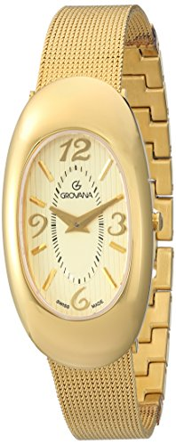 Grovana Women's 'Ladies Dressline' Swiss Quartz Stainless Steel Casual Watch, Color:Gold-Toned (Model: 4416-1111)