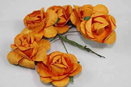 Small rose bulk paper flowers 125 orange 144 stems amazon small rose bulk paper flowers 125quot mightylinksfo