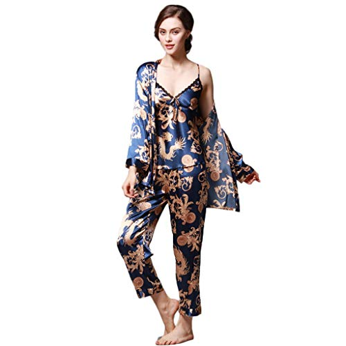 Wokasun.JJWomen Simulation Silk Print Pajamas Three-Piece Ladies Long-Sleeved Trousers Camisole Three-Piece Robe(Blue,XXL)