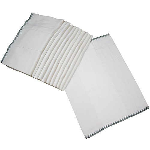 """OsoCozy - Indian Cotton Prefolds (Dozen) - Soft and Absorbent Baby Diapers Made of 100% Indian Cotton - Infant Diaper, 12""""x16"""", Fits 7-15 Lbs. - Diaper Service Quality (DSQ), (Infant, 4x8x4) from OsoCozy"""