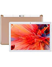Android Tablet 10 Inch, 10.1 Tablets 3G, HD, 8.1 ,WIFI, 64GB RAM, 4GB ROM, GPS, GSM, Octa Core, Dual Sim Card, Cheap, 1080P IPS, (Gold)