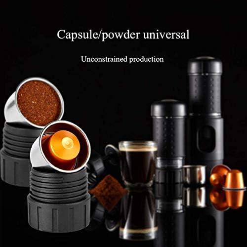 Machine à café portable, manuel Espresso Machine à café pliable Compatible avec le café moulu Nespresso Capsule for Office Accueil Voyage camping en plein air KNDTA
