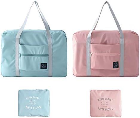 Foldable Travel Duffel Bag,Sport Totes,Shoulder Shopping Bag,Luggage Bag,2 Pack Pink Blue