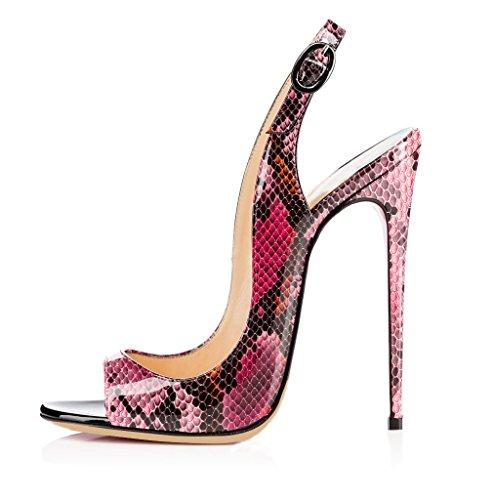 Python Heels Stilettos Party Toe Heel Peep Dress Soireelady Slingback Wedding High Women's Sandals 12cm Rose fWqpO