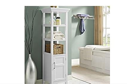 Amazoncom Bathroom Storage Furniture Unit Floor White Cabinet - Wyndenhall hayes white bathroom space saver cabinet