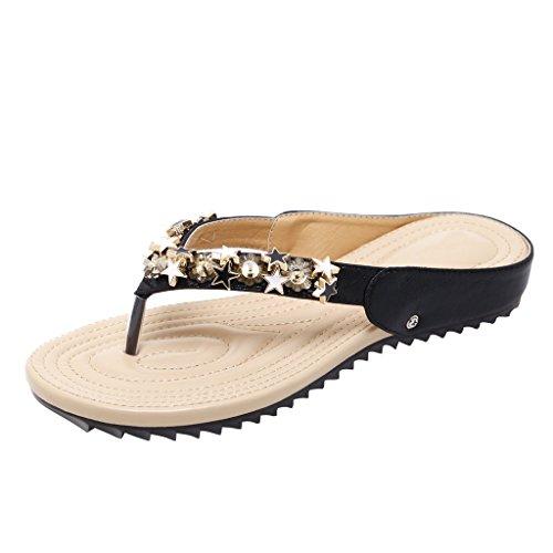 Kjære Tiden Kvinner Pers Sommer Strand Flip Flop Glitter Flat Thong Sandaler Svart