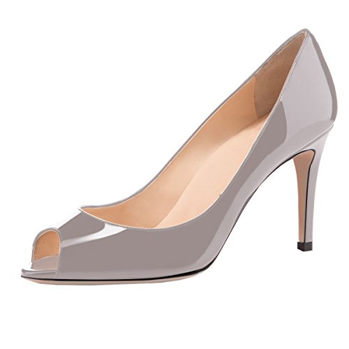Sammitop Women's Peep Toe High Heel Pumps Party Formal Wedding Bridal Office Classic Stiletto Heel Shoes Gray US5.5