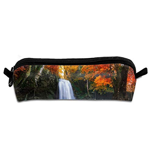 Lcokin Customized Red Maple Leaves and Waterfalls in Deep Forest Pencil Bag, Personalized Canvas Zipper Cosmetic Bag