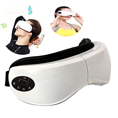 JHDLY Foldable Rechargeable Eye Massager, Wireless Digital Eye Massager with Air Pressure, Heat Compression, Vibration Massage and Music, for Dry Eye Relax Vision Care Eyestrain Stress Relief