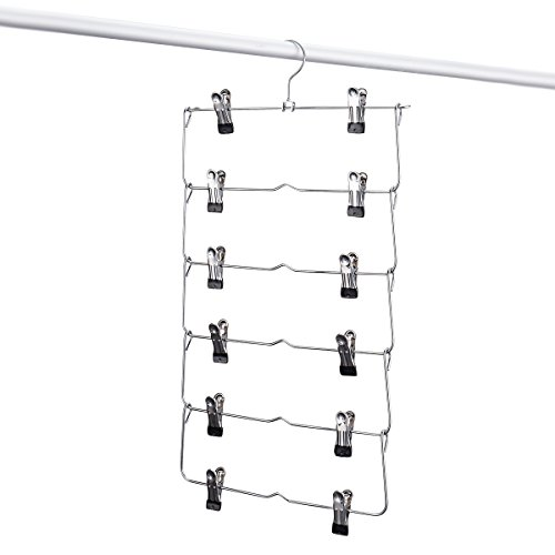 6-Tier Skirt Hangers,STAR-FLY Space Saving Pants Hangers Sturdy Multi-Purpose Stainless Steel Pants Jeans Slack Skirt Hangers with Clips Non-Slip Closet Storage Organizer(1pc) by STAR-FLY