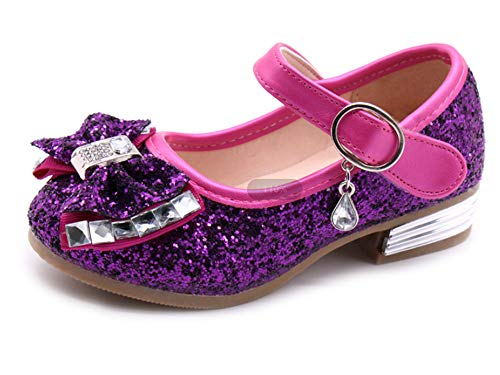 Kikiz Little Girl's Princess Dress Shoes Kids Mary Jane 8 M US Toddler D-Purple
