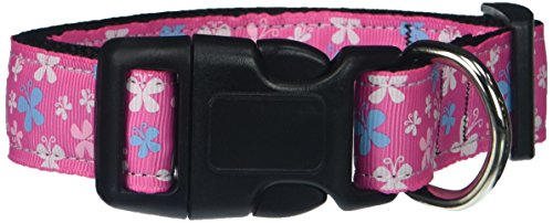 Mirage Pet Products Butterfly Nylon Ribbon Collar, Medium, Pink