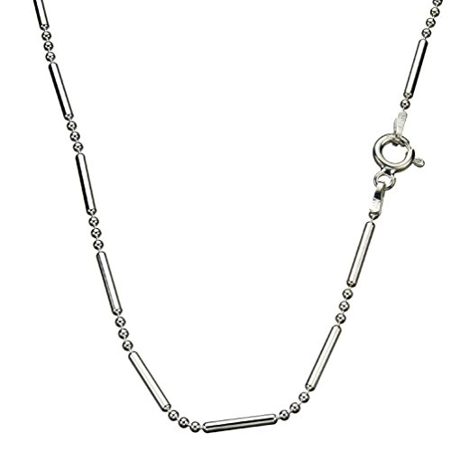(Sterling Silver Bead Bar Ball Chain Necklace Italy, 20