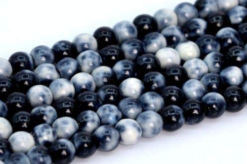 4mm Black White Rain Flower Jade Beads Grade Round Loose Beads 15.5'' Crafting Key Chain Bracelet Necklace Jewelry Accessories Pendants ()
