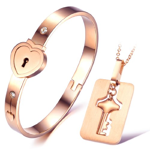 """His and Hers Matching Set Couple Titanium""""Only You Have My Key"""" Bangle Bracelet Magnetic Simple Korean Style Anti-fatigue in a Gift Box"""