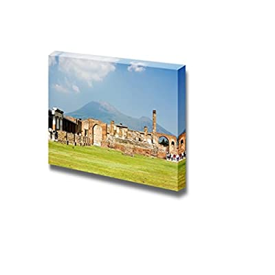 Canvas Prints Wall Art - Ruins of Ancient Town Pompeii and Mt Vesuvius, Italy | Modern Wall Decor/Home Decoration Stretched Gallery Canvas Wrap Giclee Print & Ready to Hang - 24