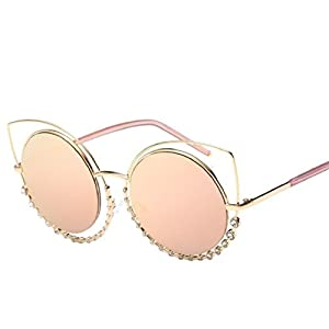 MAIDIEN Retro Women Diamond Cat Eye Sunglasses