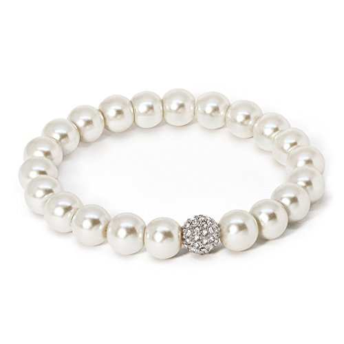Katie's Style Simulated Pearl Pave Crystal Ball Bridal Fashion Womens Stretch Bracelet ()