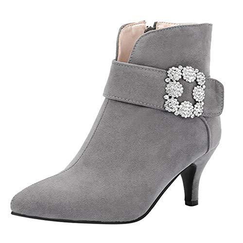 COPPEN Women Suede Pointed Toe Shoes Buckle-Strap High Heels Zipper Ankle Boots