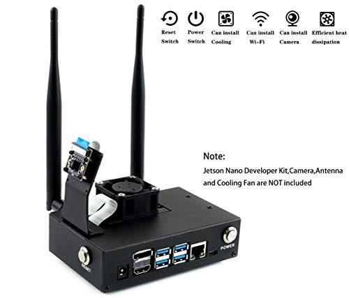 Metal Case/Enclosure for NVIDIA Jetson Nano Developer Kit Support Adding Cooling Fan/RPi Camera V2 / Noir V2/IMX219 Camera/Wireless-AC8265,with Camera Holder Reset and Power Button